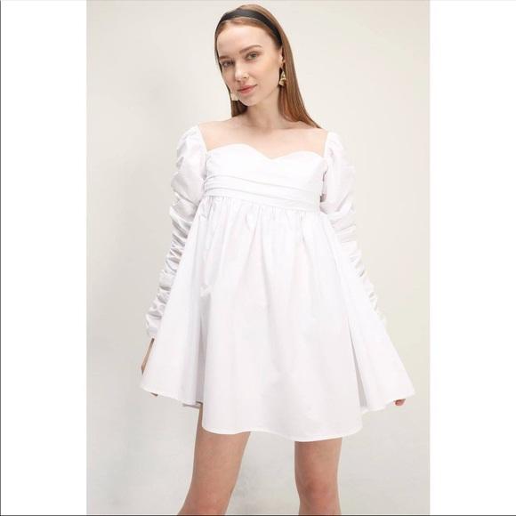 Storets Jane Shirred Puff Sleeve White Dress